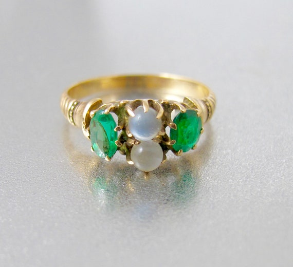 10K Moonstone Emerald Ring. Victorian Double Moons