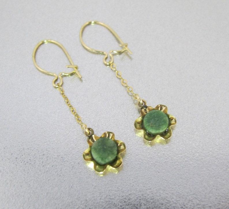 f46ad1d30 14K Jade Flower Earrings. Vintage Nephrite Jade Dangle | Etsy