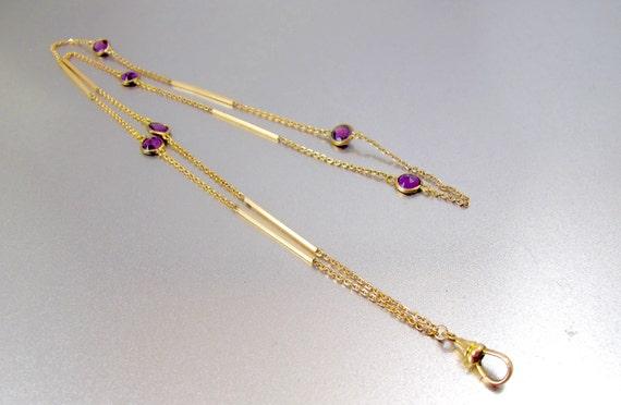 Antique Paste Muff Chain Necklace. Edwardian Purpl