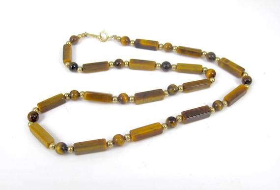 Vintage Tiger\u2019s Eye Bib Necklace Gemstone Necklace Egyptian Collar Fringe Pendants Beaded Necklace