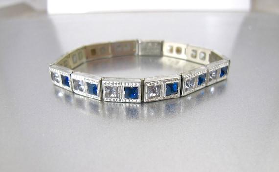 Art Deco Blue Clear Paste Bracelet. ALLCO Channel