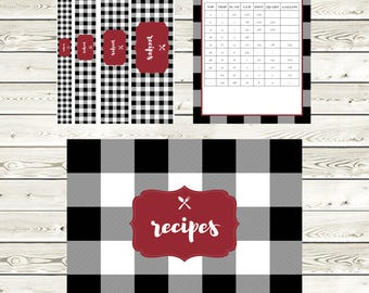 Buffalo Check Recipe Binder Kit, Printable Recipe Binder, Cookbook, Editable, Digital Recipe Kit, Letter Size, Full Page, Recipe Template