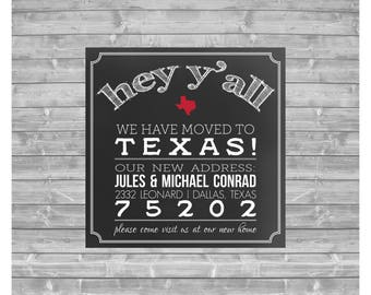 Conrad Moving Announcement, New Address Announcement, Printable Announcement, Texas Moving Announcement, State, Printed, Digital File