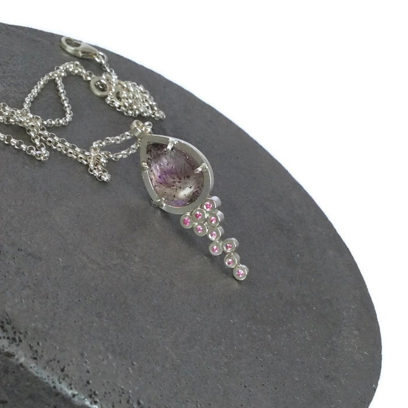 Pear Shaped Strawberry Quartz Ready To Ship! Handmade Strawberry Quartz Pendant With Pink Sapphires In Sterling Silver