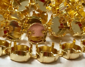 Bracelet Empty Cup Chain, Gold Plated, Swarovski 12mm Rivoli, One Foot