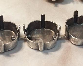 12mm Bracelet Empty Cup Chain, Bracelet, Antique Silver Plated, Swarovski 12mm 4470 Cushion Cut, One Foot