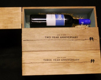3-Bottle, 3-Tier Wedding-Anniversary Wine Box,Personalized, Champagne Wine Box, Couple Wedding Gift, 1st Anniversary Gift, Couple Wine Gifts