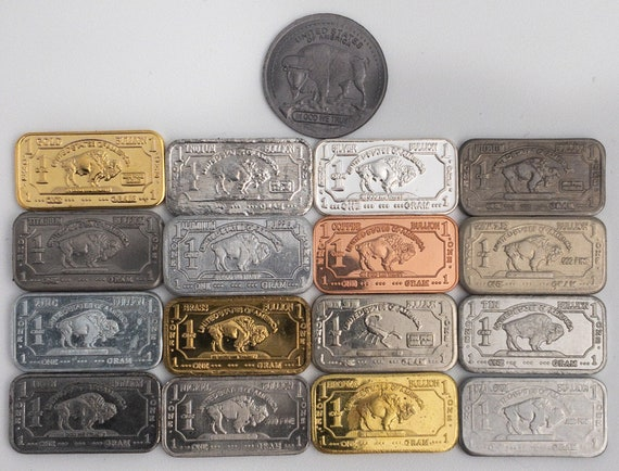 023785b5d186a 17 x 1 gram bullion bars of different buffalo metals including 13 elements  of the periodic table Including Tantalum Niobium Silver Indium