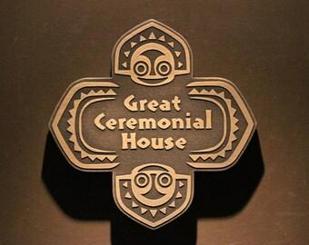 Disney polynesian resort Great Ceremonial House Tiki replica sign BRASS finish