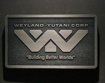 Weyland Yutani Corporation Alien Logo plaque Nickel/silver finish