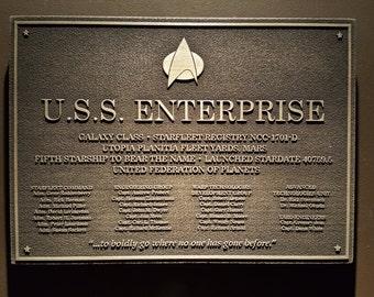 Star Trek USS Enterprise D Dedication plaque replica