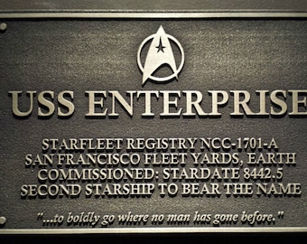 Star Trek USS Enterprise Dedication plaque replica