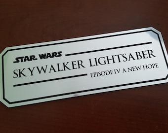 Skywalker lightsaber episode IV data plate