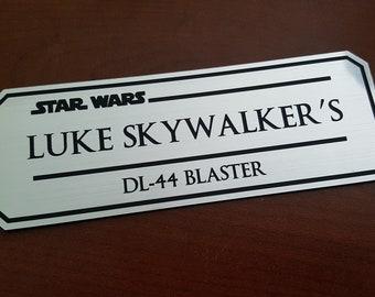 Luke Skywalkers Dl-44 blaster data plate