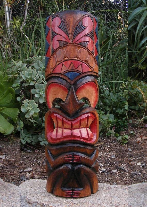 "Tribal Tiki Bar Ku Hawaiian Style Wood Mask Wall Patio Tropical Bar Decor 60/"""