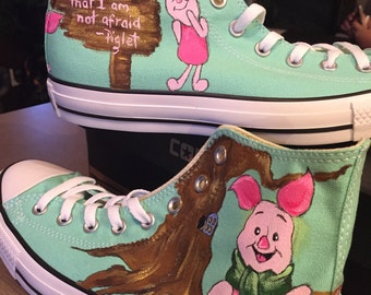 Custom Converse hand painted shoes inspired by Winnie The Pooh s Piglet! f1463c4ec