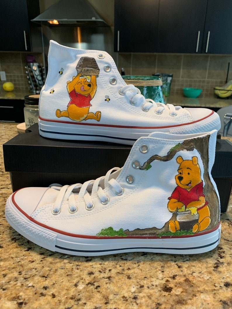 5ac1f73031b93 Custom painted Converse inspired by Disney's Winnie The Pooh