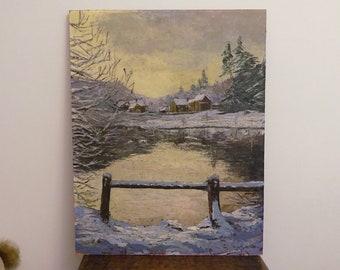 Beautiful oil painting by Anne Farncombe, 20th century British, impasto oil on board landscape, snow scene, lake, farmhouses, unframed art