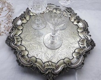 Victorian salver, baroque style tray, partly silver plated, aged patina, antique engraved drinks tray, plant pot stand, original old patina