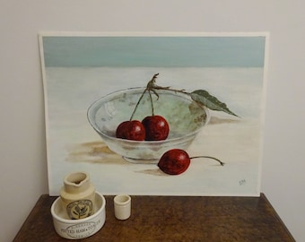 Lovely still life painting of black cherries in a glass dish, acrylic on paper, 20th century art, signed SH, original naive art, unframed
