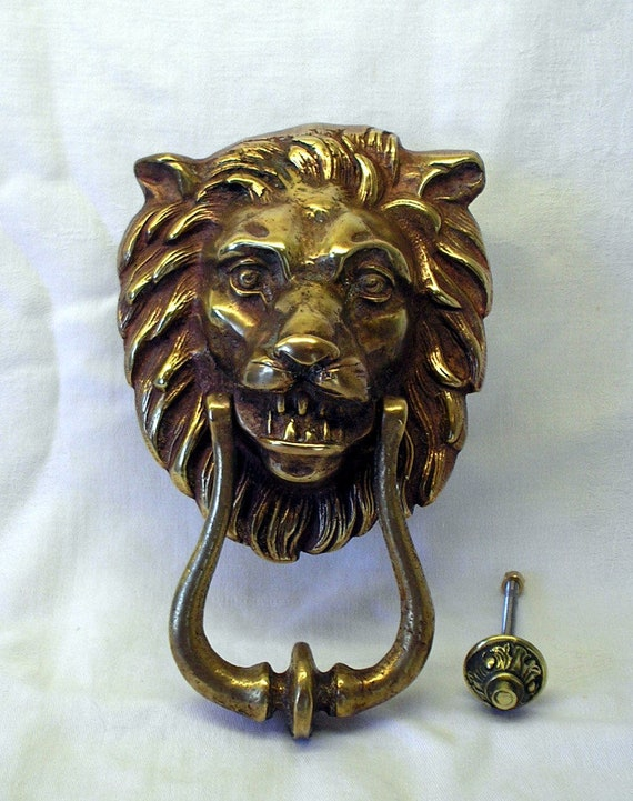 - Vintage Brass Lion Head Door Knocker. Large Imposing