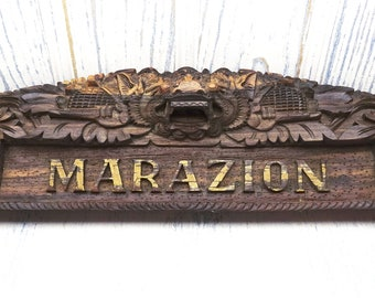 Vintage carved MARAZION Balinese name plaque from Indonesia, wood carving by Sanggar Barong, Cornish souvenir, Cornwall, wooden sign