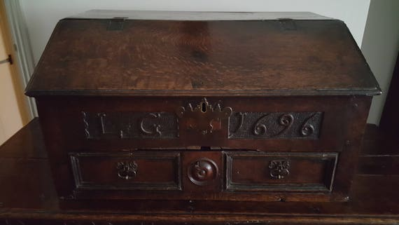 image 0 - Antique Oak Desk Box. Rare 17th Century Carved Oak Desk Box Etsy