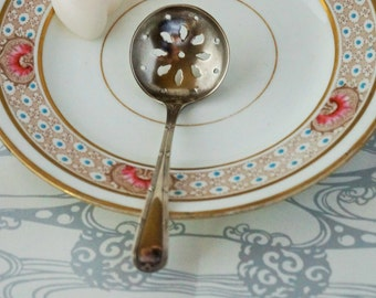 A lovely antique silver plated sugar sifter spoon/ berry spoon. c 1900s. Perfect for afternoon tea.