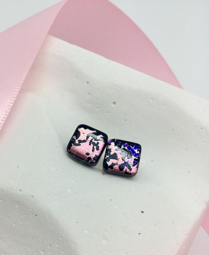 Pendant and Earrings Set-Rose Gold and Black Dichroic Glass Pendant and Stud Earrings Set