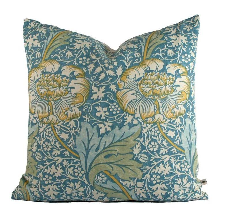 William Morris Kennet Luxury Designer Blue Gold Cushion Pillow image 0