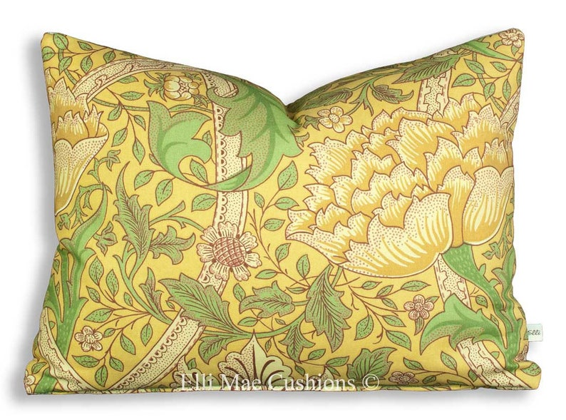 William Morris Windrush Vintage Retro Designer Green Gold Sofa Cushion Throw Pillow Cover