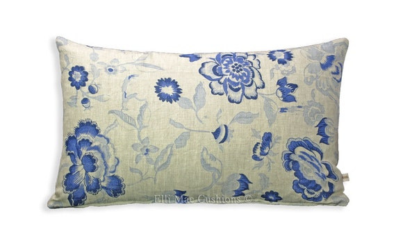 Cabbages and Roses Elgin Blue Linen Designer Fabric Cushion Pillow Cover