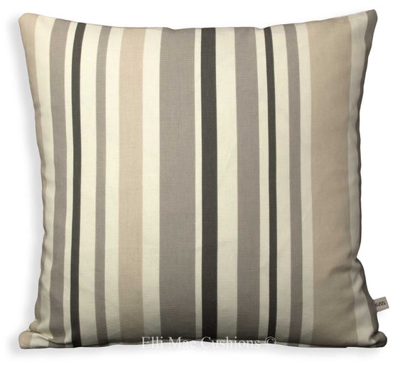Clarke /& Clarke Designer Nova Grey Stripe Fabric Sofa Cushion Pillow Cover
