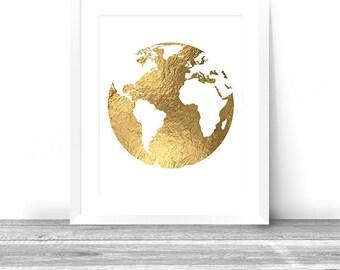 Golden World Map Etsy - 8x10 printable world map