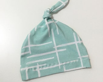 Baby Beanie, Knot Hat, Baby Hat // Abstract in Mint // IN STOCK