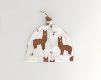 Baby Beanie, Baby Knot Hat, Baby Hat // Llamas in White // IN STOCK