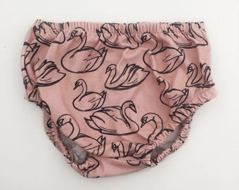 Baby Bloomers, Nappy Cover, Diaper Cover // Swans in Blush // IN STOCK