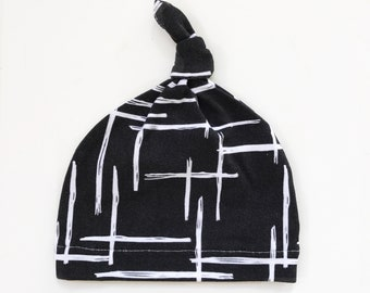 Baby Beanie, Baby Knot Hat, Baby Hat // Black Abstract // IN STOCK