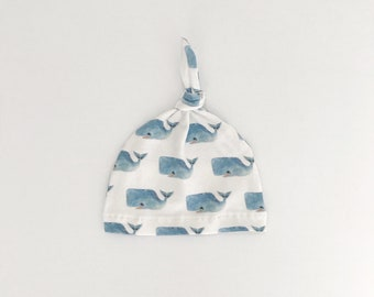 Baby Beanie, Baby Knot Hat, Baby Hat // Happy Whales // IN STOCK