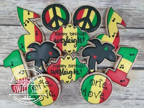 Rasta Reggae One Love Cookies Red Yellow Green And Black Etsy