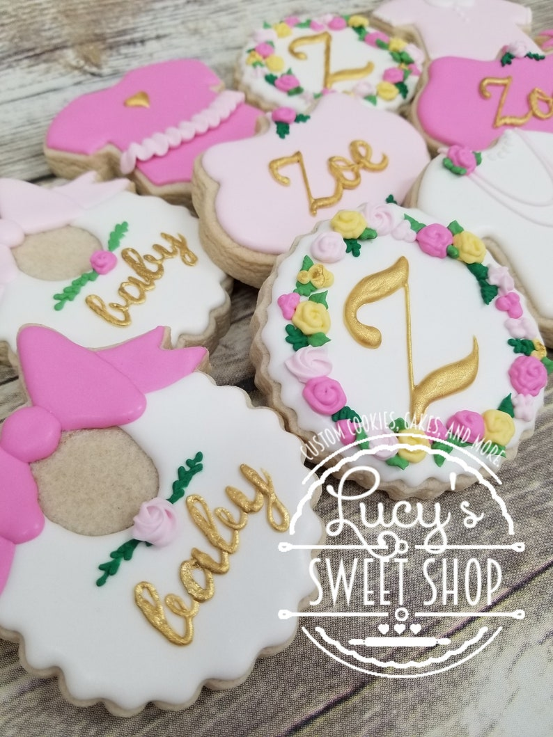 Baby Shower Cookies Baby Girl Girl Baby Shower Custom Cookies Decorated Cookies Sugar Cookies