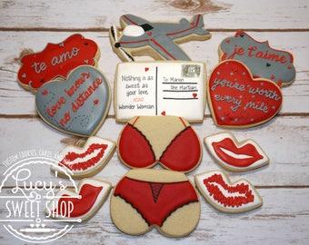 Military Cookies - Long Distance Cookies - Valentine's Day Cookies - Lingerie Cookies - Decorated Cookies - Custom Cookies