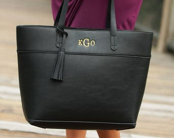 Monogram Purse - Monogrammed Faux Leather Tote Bag - Monogrammed Handbag - Monogrammed Purse - Embroidered Purse - Monogram Pocketbook