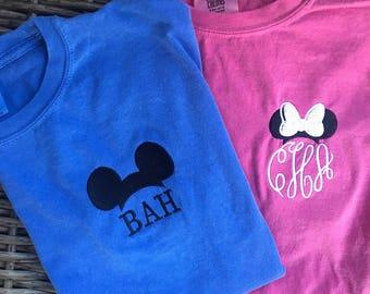 YOUTH Minnie Mickey Mouse Monogram Short Sleeve Comfort Colors Tee Shirt, Disney monogram shirt, Kids Disney Shirt |