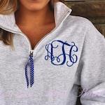 Monogram Sweatshirt Quarter zip, Monogram Fleece Pullover, Monogram Sweatshirt, Monogram Pullover with Ribbon