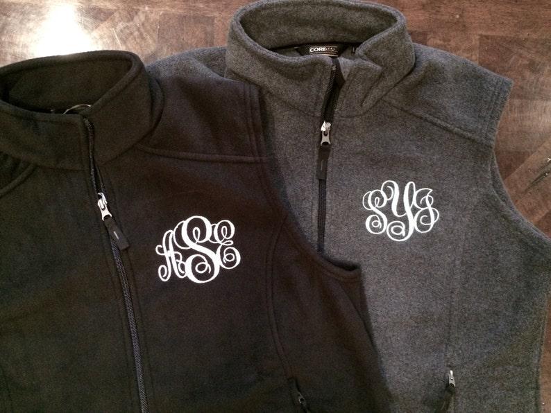 9 color options monogram included Full Zip Monogram Fleece Women/'s Vest