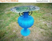 on sale Unique Vintage Blue Wicker Rattan Urn With Antique Mirror Table Top