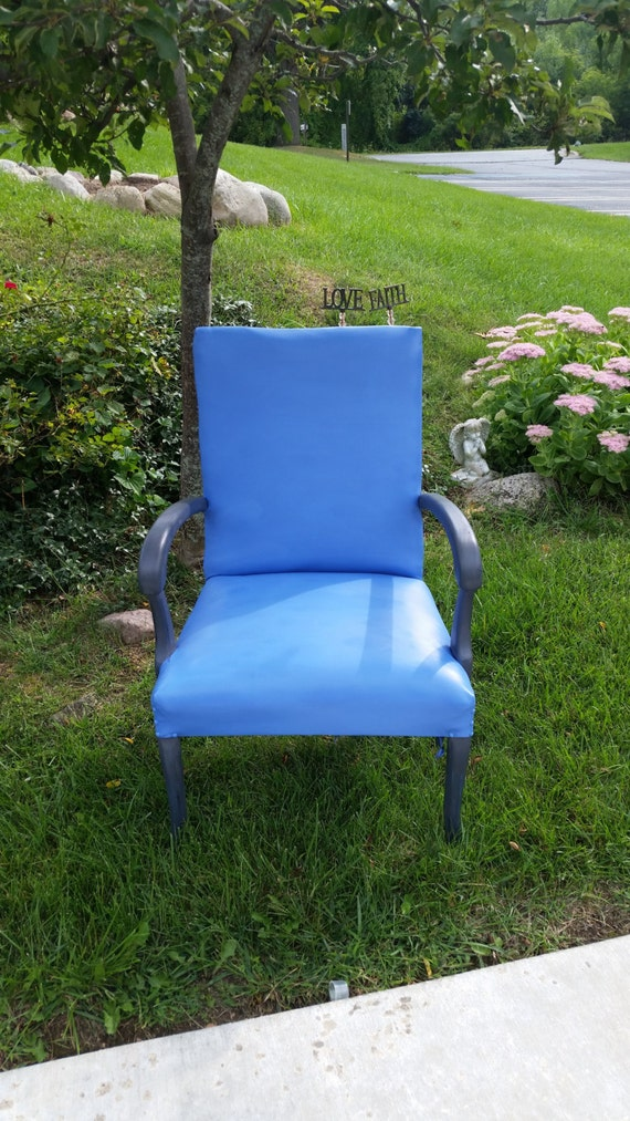 Antique 1930s Blue and Silver Gray Shabby Chair 1920s/1930s SHIPPING  INCLUDED