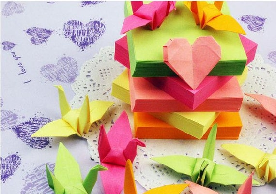 Colored Fluorescent Crame Love Heart Origami Paper Paper Crane Etsy
