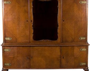 Flemish Oak Large Breakfront China Cabinet Bookcase
